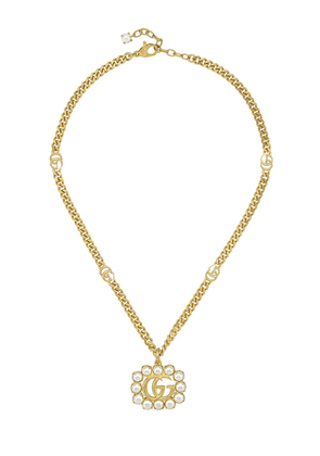 Gucci pearl-embellished Double G charm necklace - GOLD