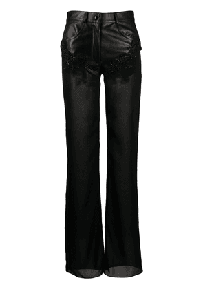 Almaz beaded panelled flared trousers - Black