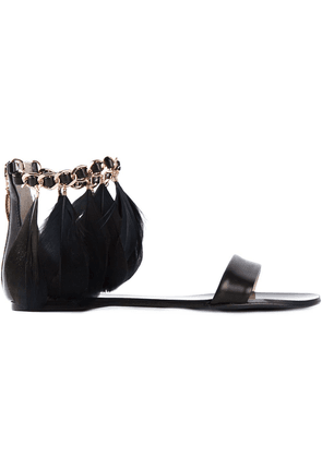 Anna Baiguera feather ankle strap sandals - Black