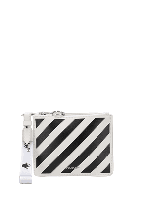 Off-White stripe-print leather clutch