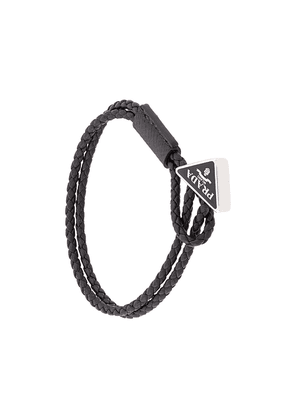 Prada braided logo plaque bracelet - Black