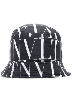 Valentino VLTN logo pattern bucket hat - Black