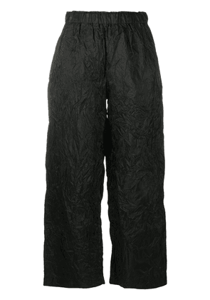 Daniela Gregis crinkle-effect silk cropped trousers - Black