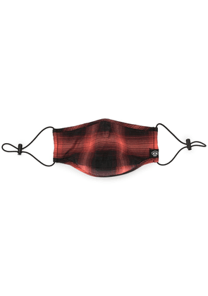 Mostly Heard Rarely Seen check print face mask - Red