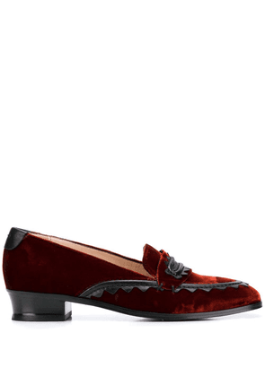 Alexa Chung leather-trimmed velvet loafers - Orange