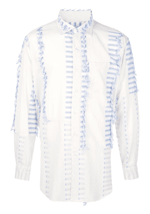Engineered Garments striped fringed detail shirt - White