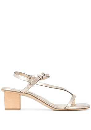 Del Carlo quilted insole chunky heel sandals - GOLD
