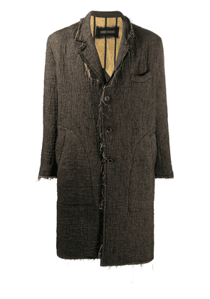 Uma Wang front button raw-edge coat - Brown