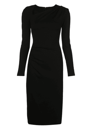 Christian Siriano fitted ruched midi dress - Black