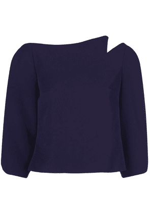Christian Siriano cropped notched shoulder top - Purple