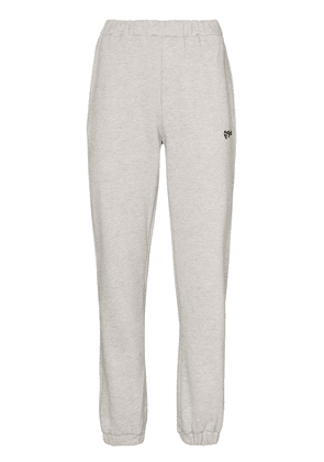 Danielle Guizio floral-logo embroidered track pants - Grey