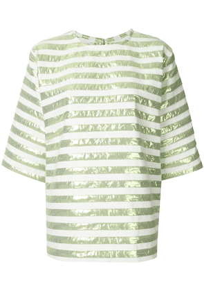 Bambah short-sleeved striped square top - Green