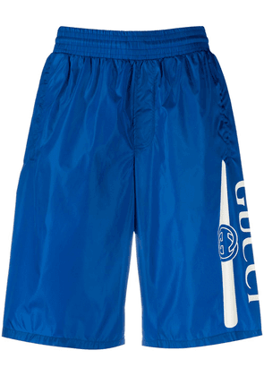 Gucci long swim shorts with logo - Blue