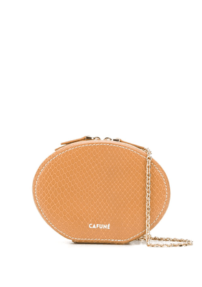 Cafuné Egg textured leather clutch - Brown
