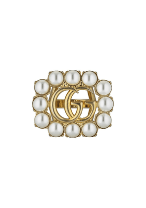 Gucci pearl Double G ring - Gold