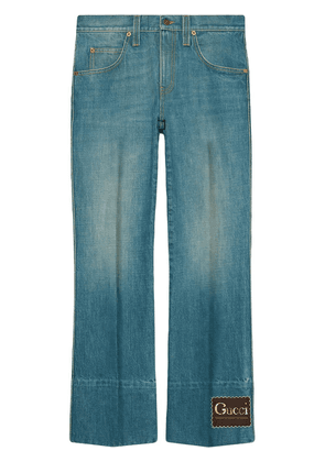 Gucci logo-patch bootcut jeans - Blue