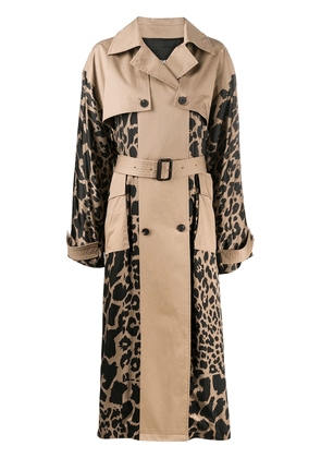 Frenken leopard print panels trench coat - Brown
