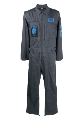 Diesel badge-appliqué boiler suit - Grey