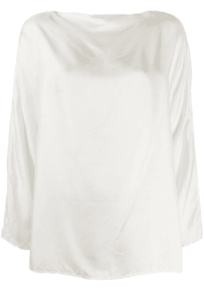 Daniela Gregis boat-neck satin blouse - White