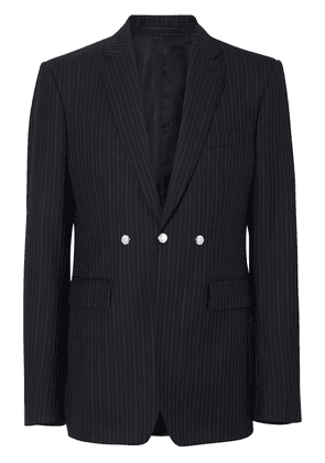 Burberry English Fit Triple Stud Pinstriped Wool Tailored Jacket - Black