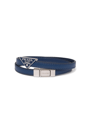 Prada double strap triangular logo bracelet - Blue