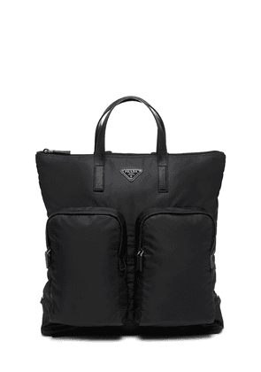 Prada large logo-plaque backpack - Black