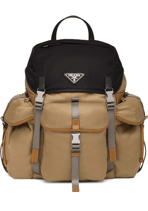 Prada logo plaque backpack - Brown