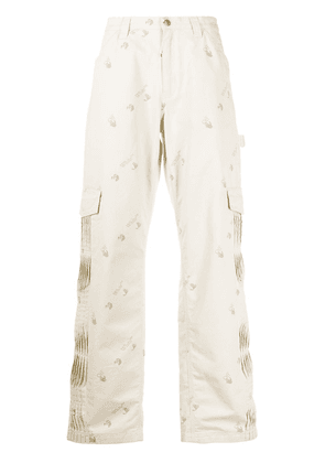 Off-White pleated logo print cargo pants - Neutrals