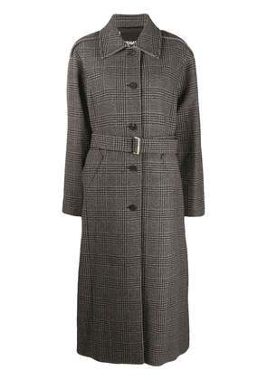 Frenken check belted single-breasted coat - Brown
