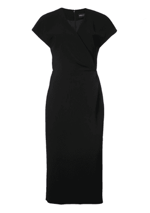 Christian Siriano wrap fitted midi dress - Black