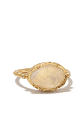 Brooke Gregson 14kt yellow gold Orbit moonstone and diamond ring - WHITE