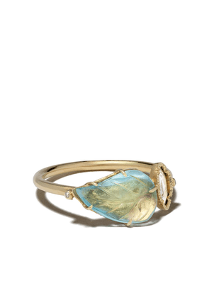 Brooke Gregson 18kt yellow gold diamond Maya leaf ring