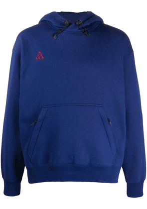 Nike logo-embroidered hooded sweatshirt - Blue