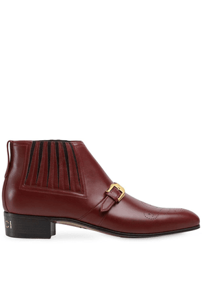 Gucci leather ankle boot with G brogue - Red