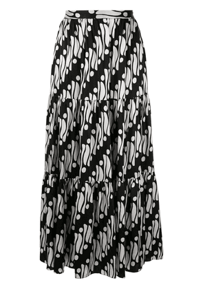 Andrew Gn geometric flared maxi skirt - Black
