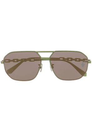 Off-White OMRI007F20MET0015500 aviator-frame sunglasses - Green