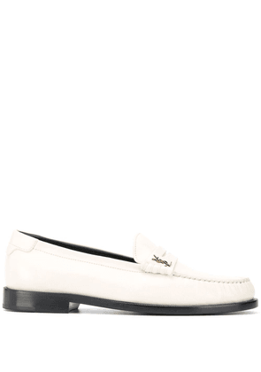 Saint Laurent monogram plaque loafers - White