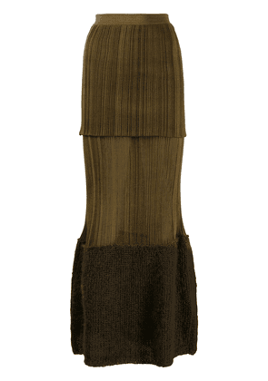 Moncler tiered knitted maxi skirt - Brown