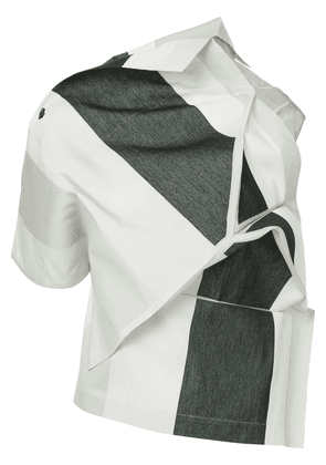 132 5. Issey Miyake panelled asymmetric top - White