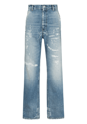 Gucci distressed-effect straight-leg jeans - Blue