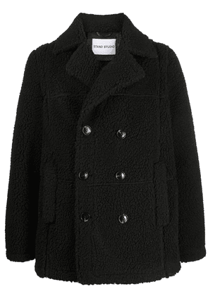 STAND STUDIO double breasted faux shearling coat - Black