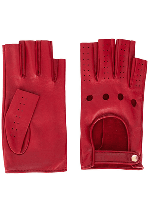 Gucci perforated fingerless gloves - Red