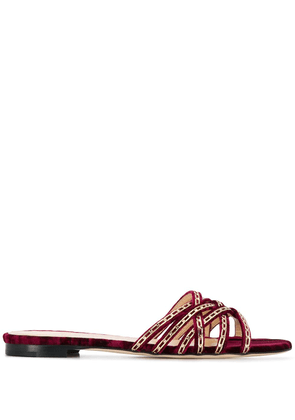 Chloe Gosselin Nina chain-trimmed velvet slippers - Red