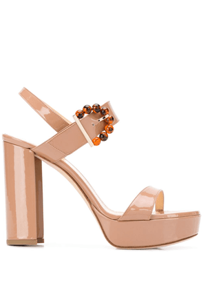Chloe Gosselin Tori beaded-buckle platform sandals - Neutrals