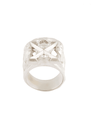 Off-White Arrows skull ring - Silver