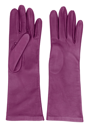 Saint Laurent logo-debossed 5-finger gloves - PURPLE
