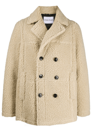 STAND STUDIO double breasted faux shearling coat - Neutrals