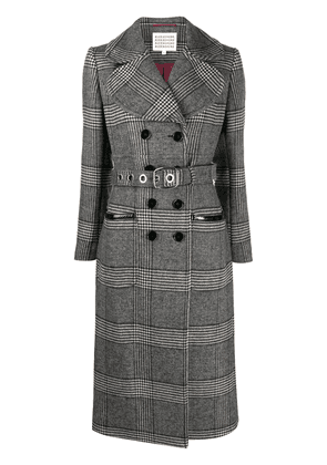 Alexa Chung belted check pattern trench coat - Grey