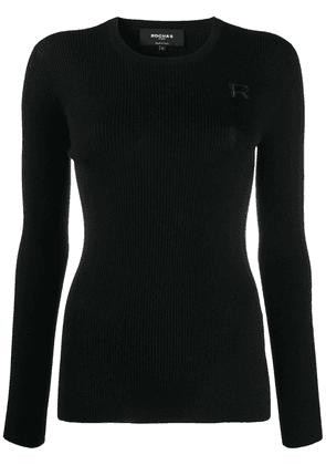 Rochas logo-embroidered long sleeved top - Black