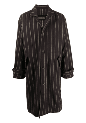 Uma Wang striped single-breasted coat - Brown